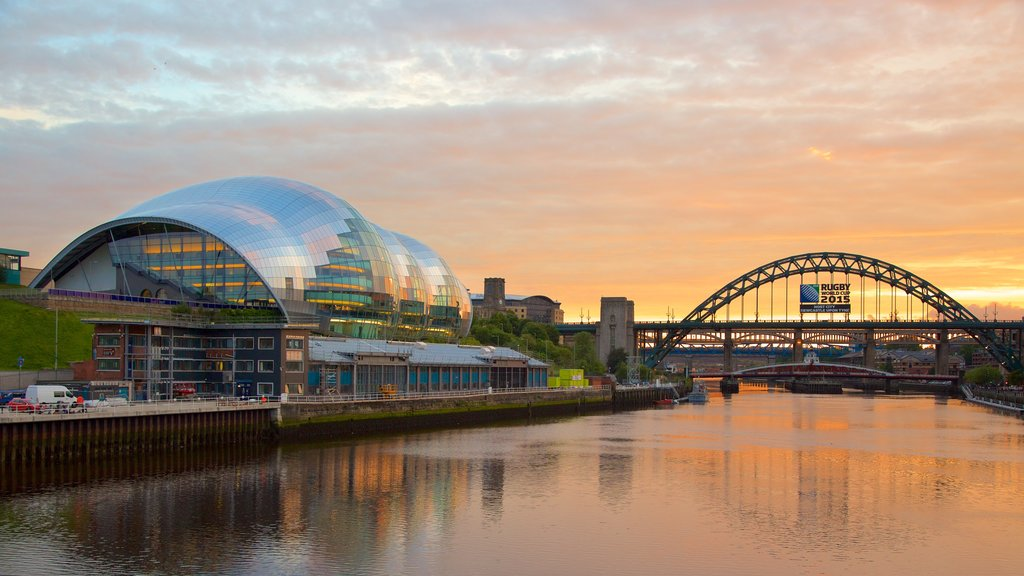 Newcastle-upon-Tyne featuring a bridge, a river or creek and modern architecture
