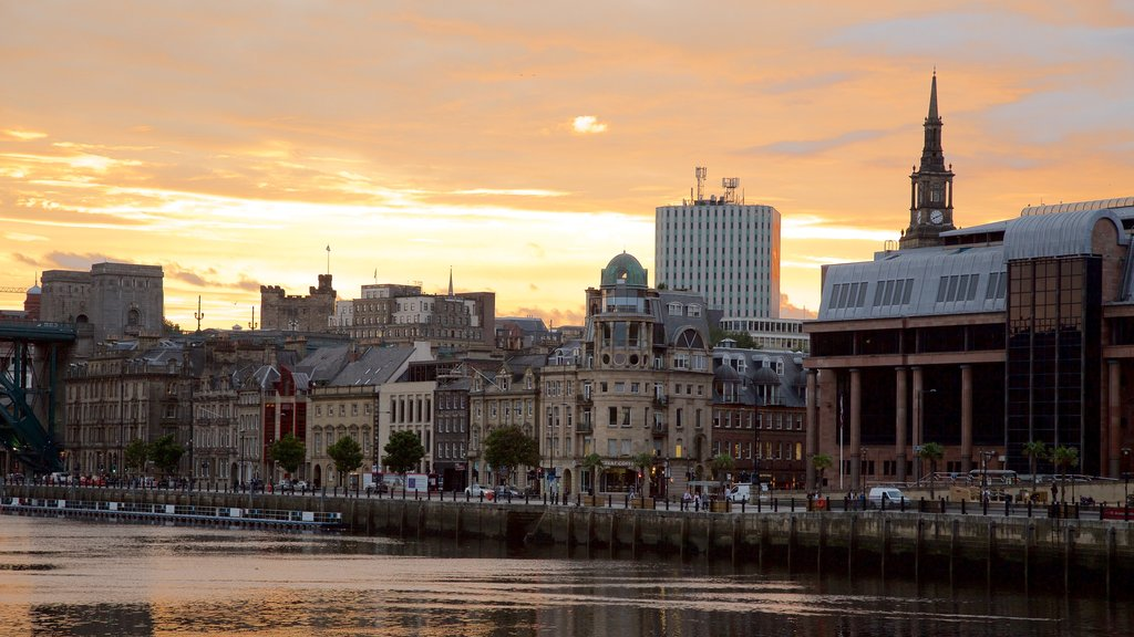 Newcastle-upon-Tyne featuring a city, a river or creek and heritage architecture