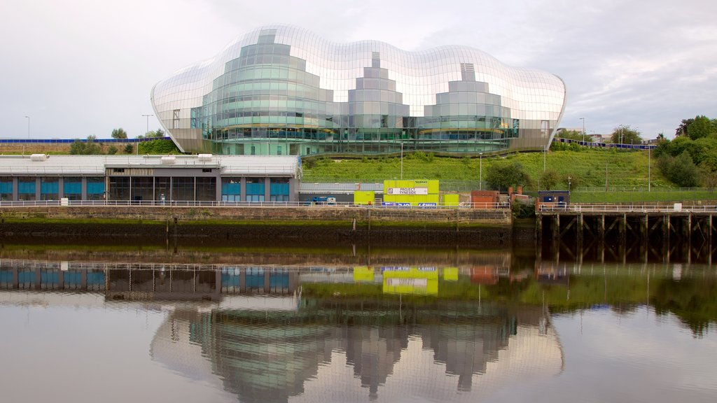 Sage Gateshead which includes a city, a river or creek and modern architecture