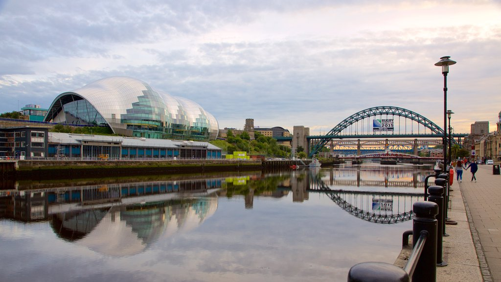 Quayside featuring a river or creek, a bridge and modern architecture