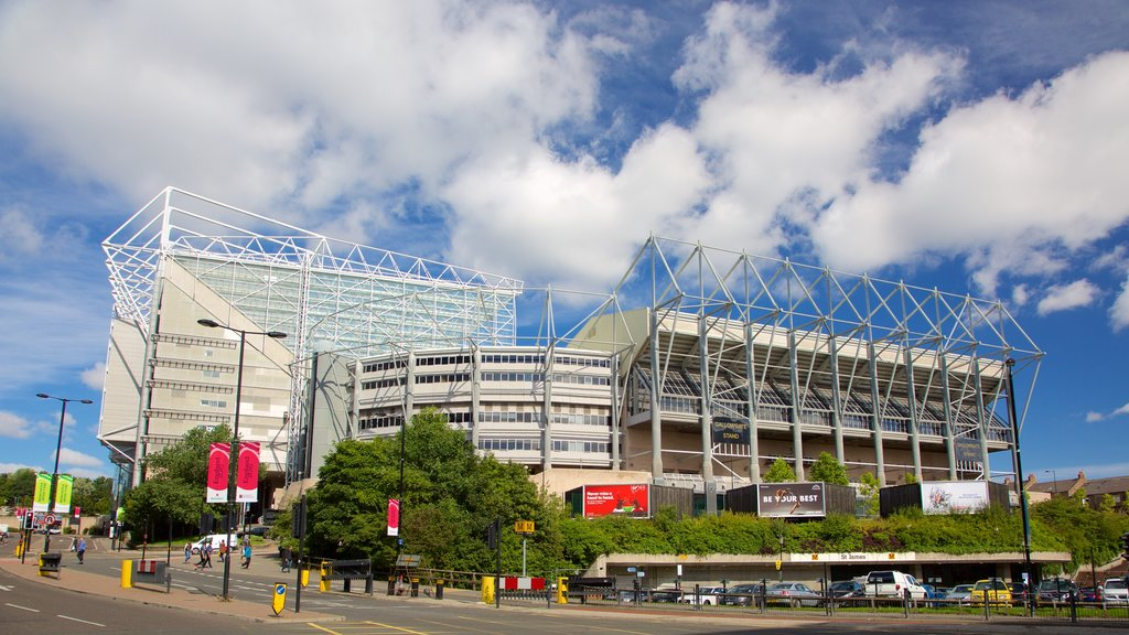 St. James\' Park showing modern architecture and a city
