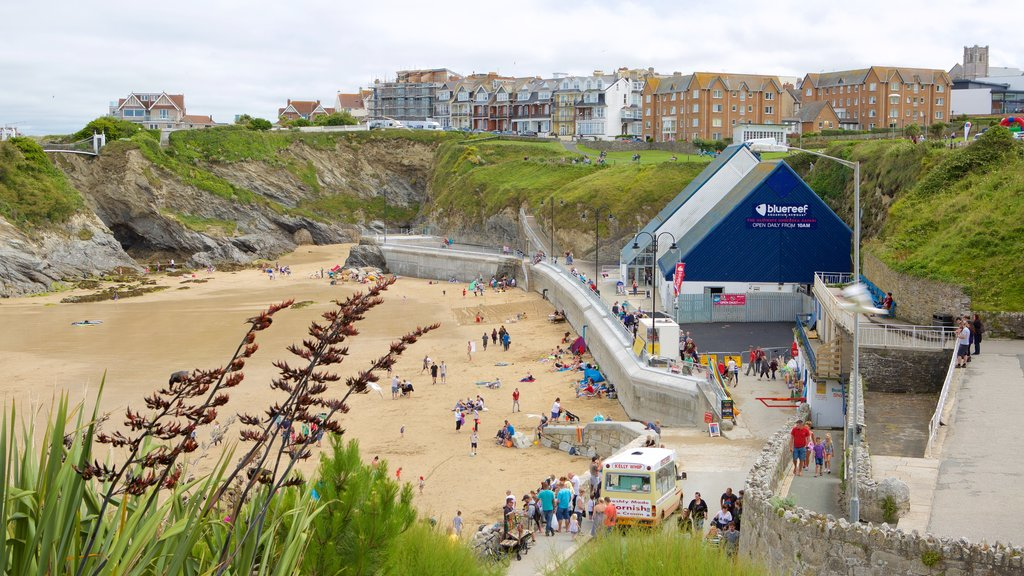 Newquay featuring a sandy beach and a coastal town as well as a large group of people