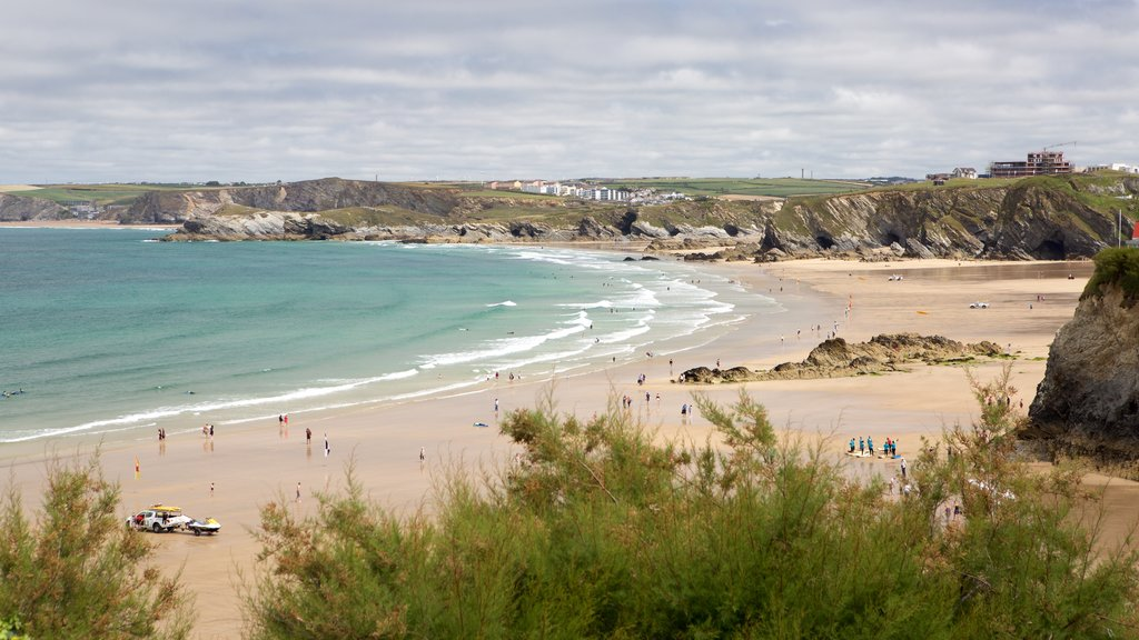 Newquay showing landscape views and a sandy beach