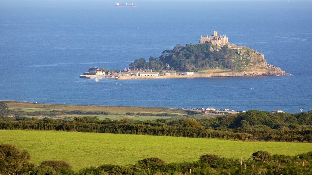 St. Michael\'s Mount which includes island views, landscape views and general coastal views