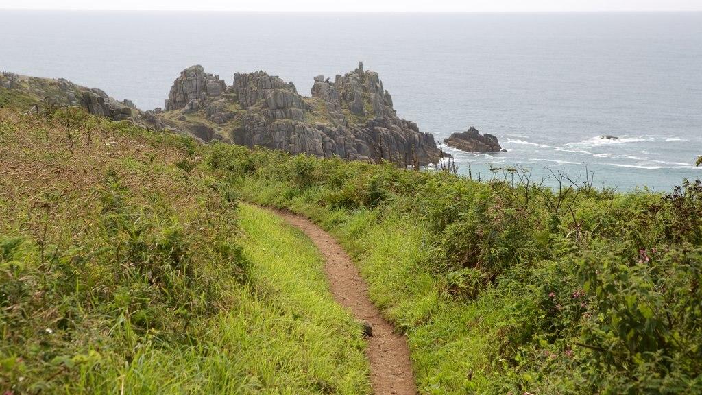 Logan\'s Rock showing rugged coastline and general coastal views