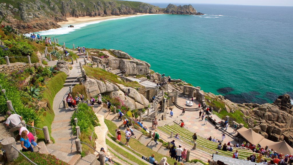 Minack Theatre which includes views, rugged coastline and a coastal town