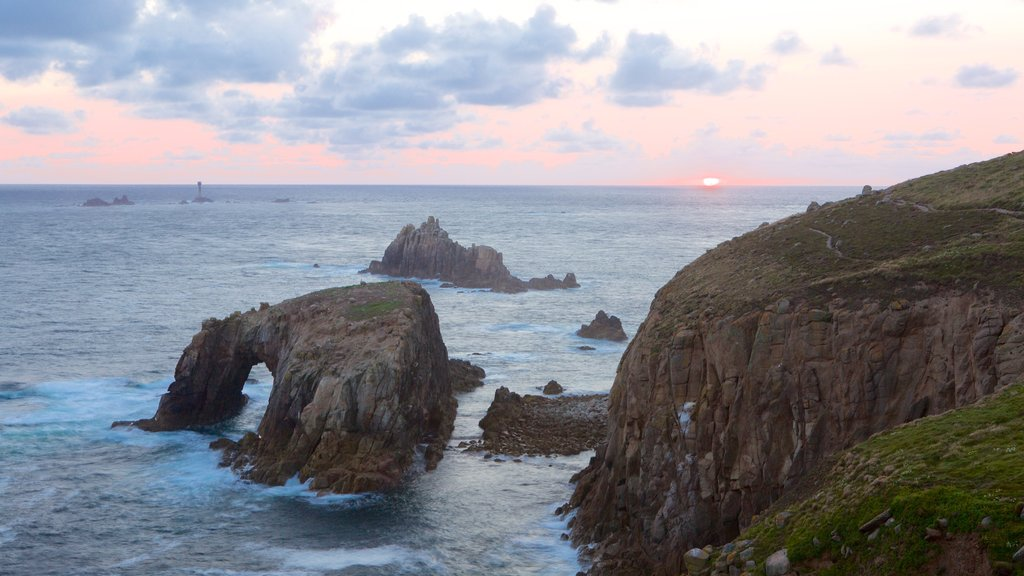 Land\'s End which includes rocky coastline and a sunset