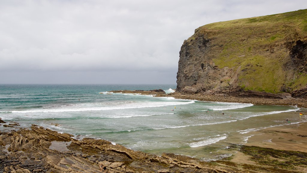 Crackington Haven showing rocky coastline and a beach