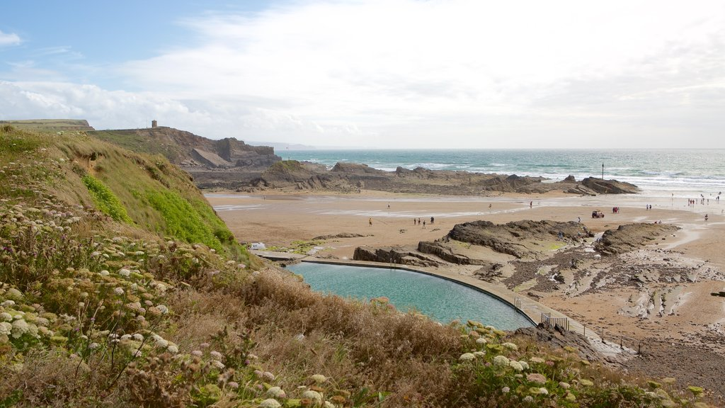 Crooklets Beach which includes a beach and rugged coastline