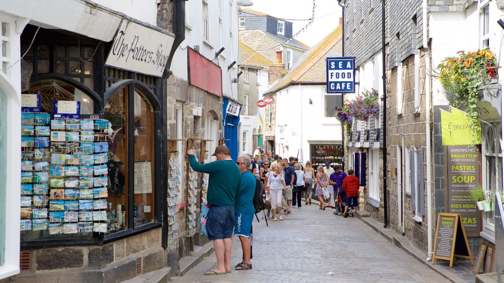 St Ives which includes a coastal town, signage and street scenes