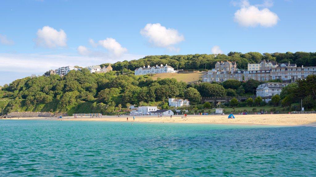 Porthminster Beach which includes a coastal town and a beach