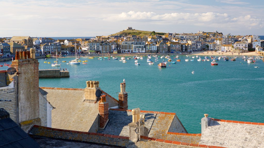 St Ives featuring a coastal town, a bay or harbor and boating