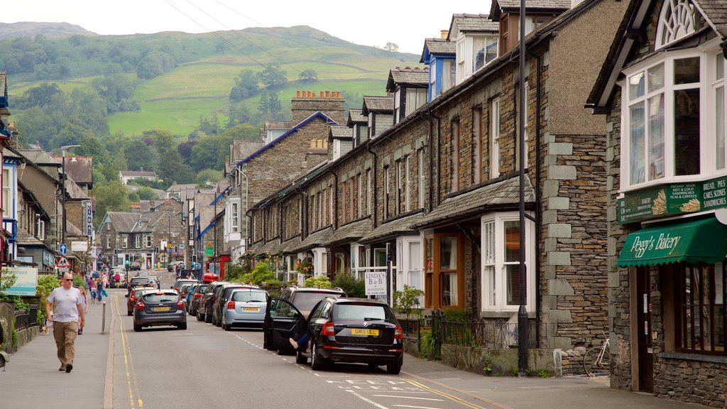 Ambleside showing a small town or village, street scenes and signage