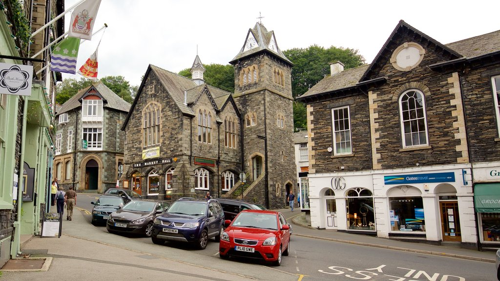 Ambleside featuring signage, a small town or village and street scenes