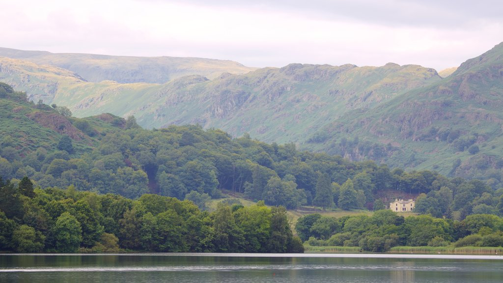 Grasmere featuring a lake or waterhole and mountains