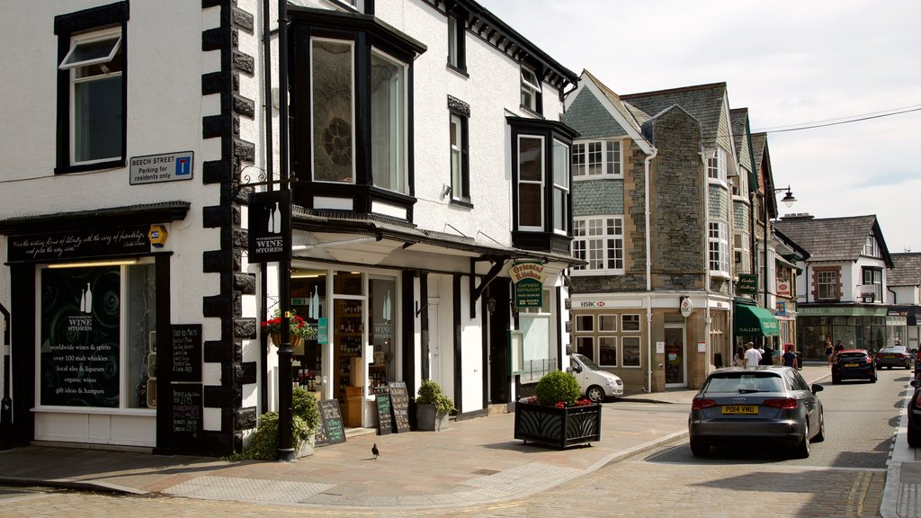 Windermere featuring signage, street scenes and heritage architecture