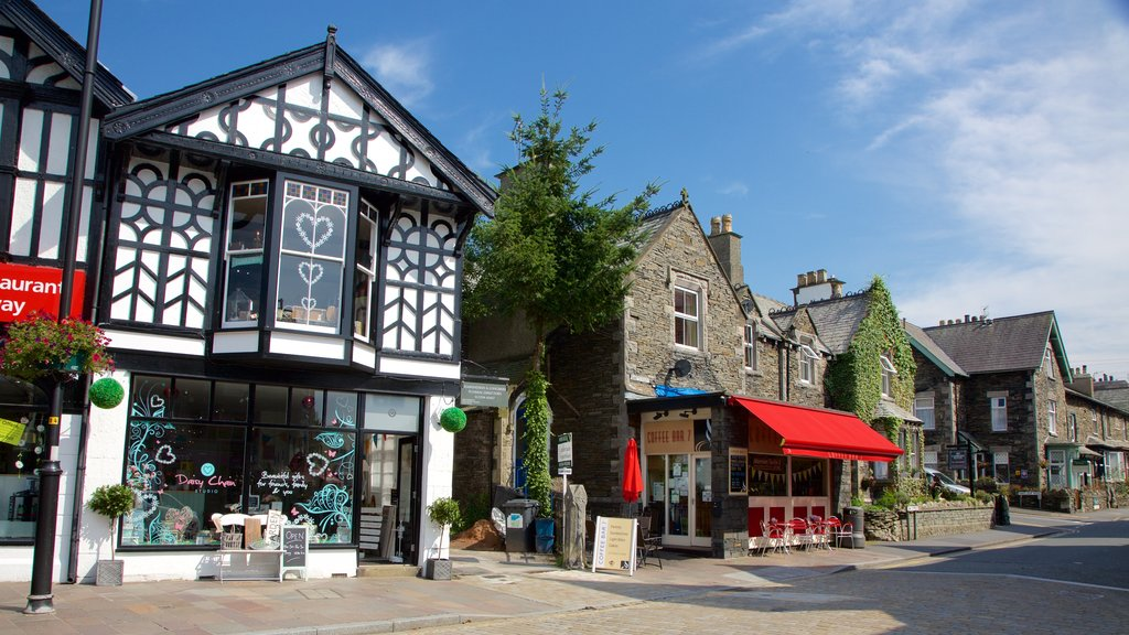 Windermere showing heritage architecture, cafe scenes and signage