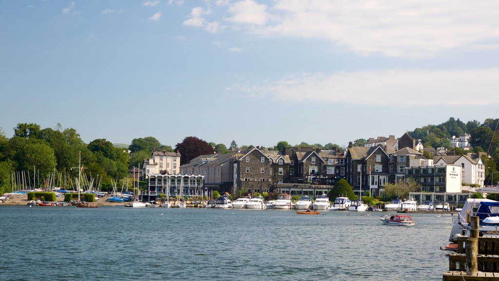 Bowness-on-Windermere which includes boating, a small town or village and a lake or waterhole