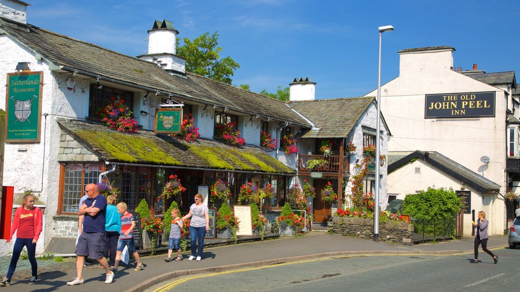 Bowness-on-Windermere which includes street scenes, a small town or village and signage