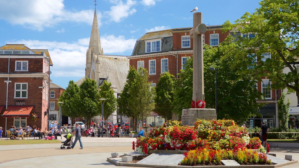 Exmouth featuring flowers, a square or plaza and heritage architecture