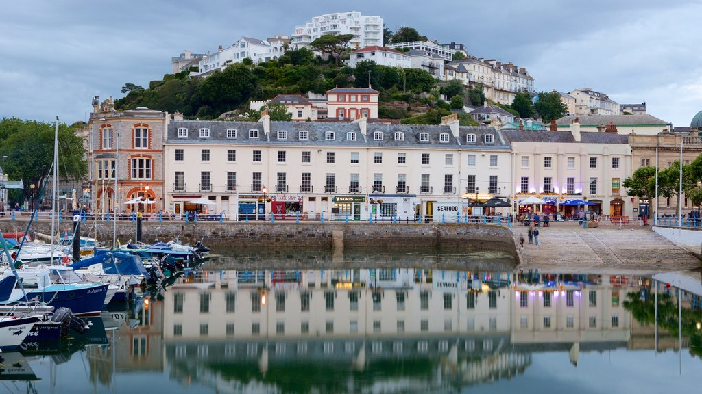 Torquay showing boating, a marina and a coastal town