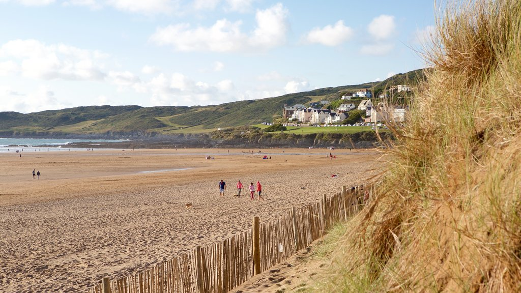 Woolacombe featuring a coastal town and a sandy beach