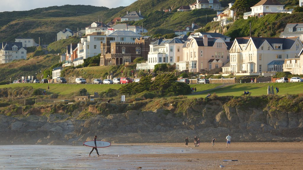 Woolacombe featuring a coastal town, surfing and a sandy beach