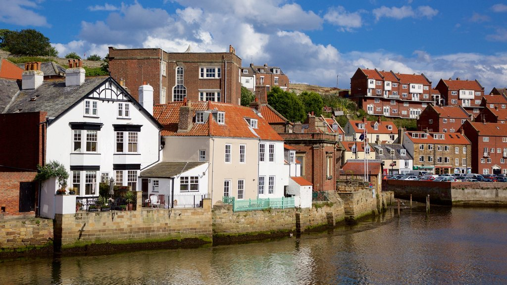 Whitby showing a coastal town and a bay or harbor