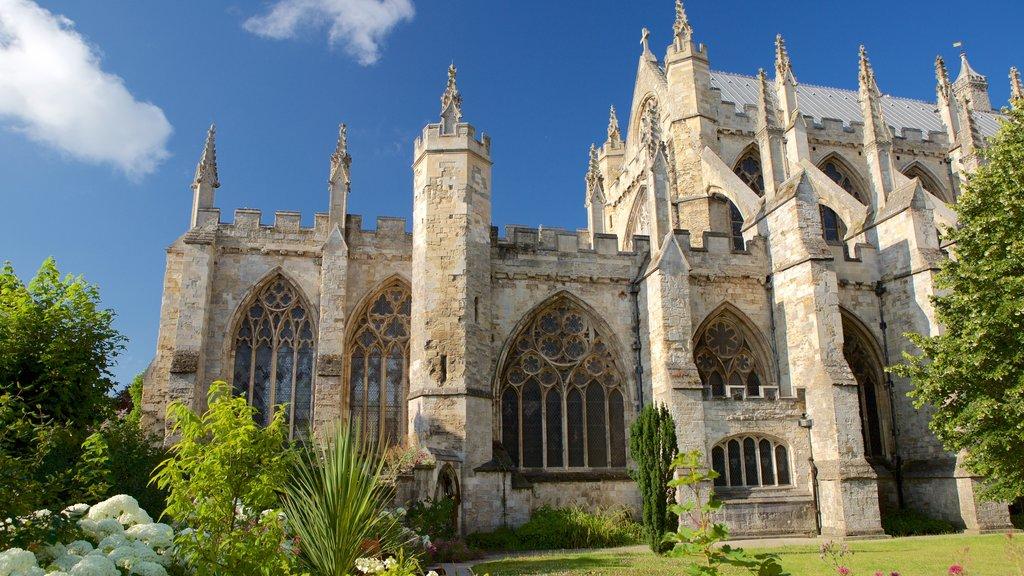 Exeter Cathedral which includes heritage architecture and a church or cathedral