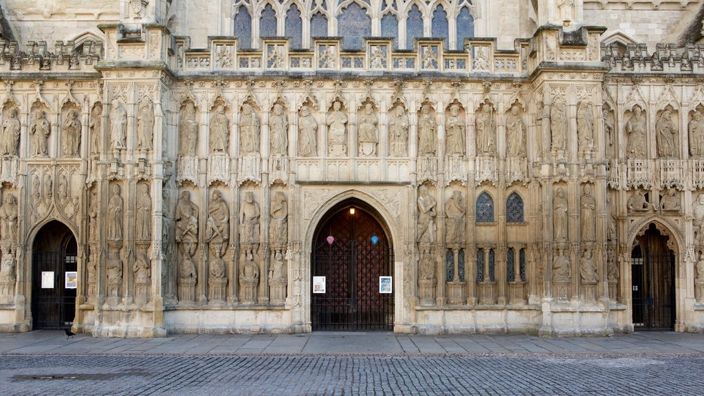 Exeter Cathedral showing a church or cathedral and heritage architecture