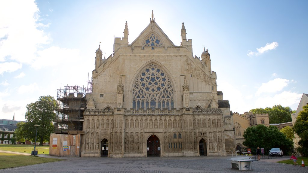 Exeter Cathedral featuring a church or cathedral and heritage architecture