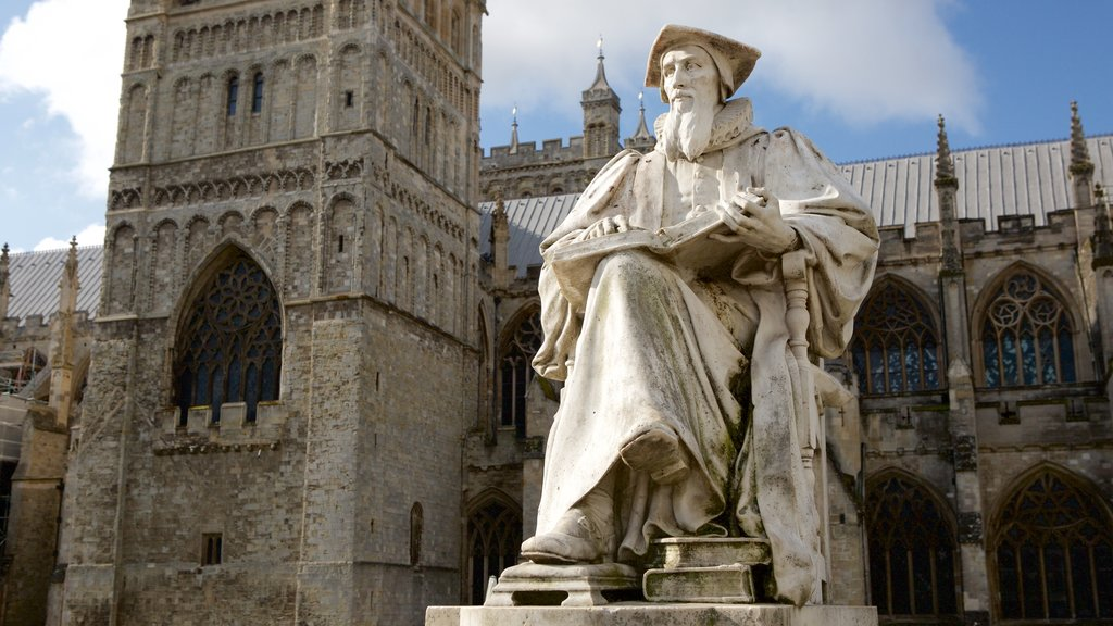 Exeter Cathedral featuring heritage architecture, religious aspects and a statue or sculpture