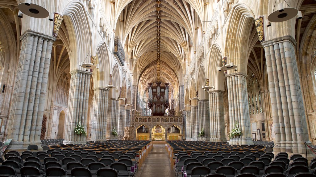 Exeter Cathedral showing heritage architecture, interior views and religious aspects