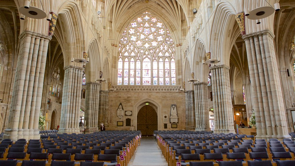 Exeter Cathedral showing religious aspects, a church or cathedral and interior views