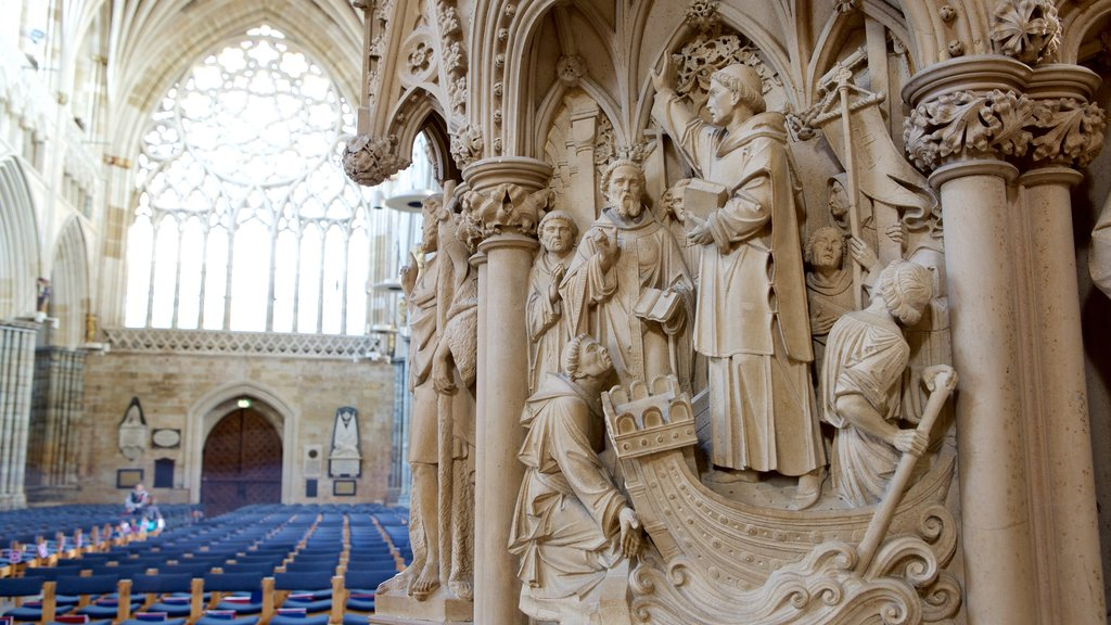 Exeter Cathedral which includes a church or cathedral, religious elements and interior views