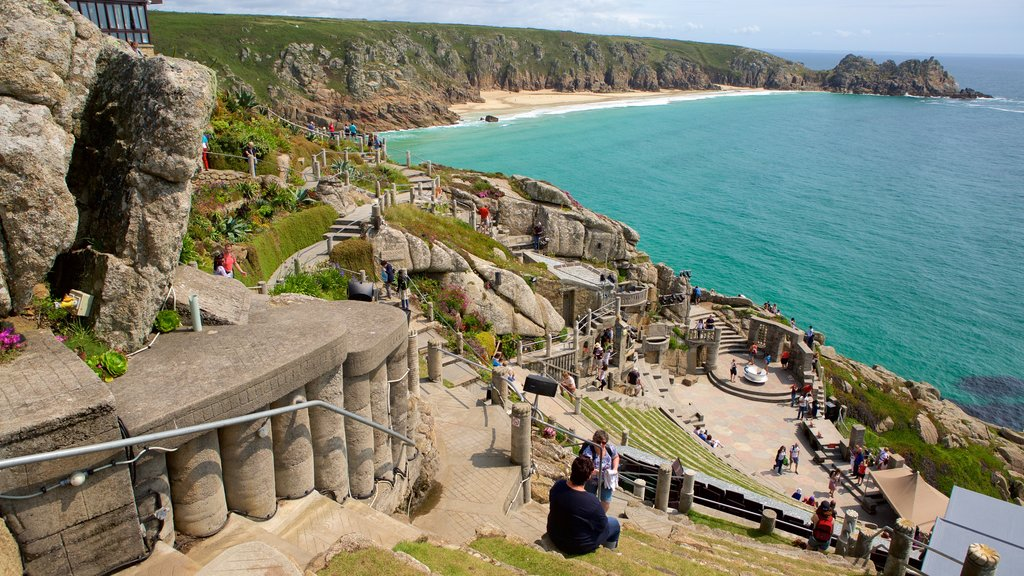 Minack Theatre featuring theater scenes, heritage elements and rugged coastline