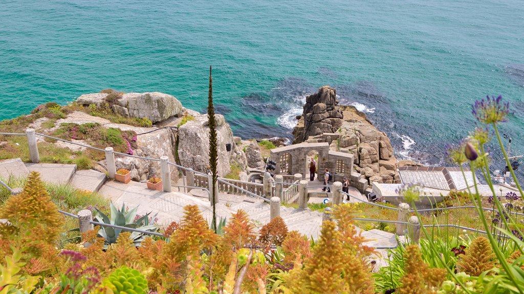 Minack Theatre showing theater scenes, rocky coastline and heritage elements