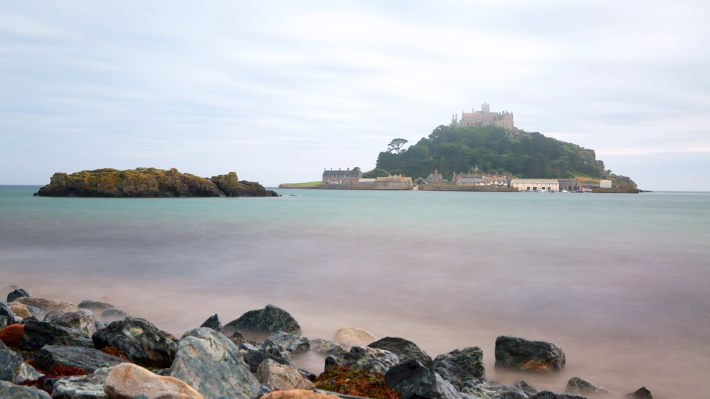 St. Michael\'s Mount showing island views, rugged coastline and a castle