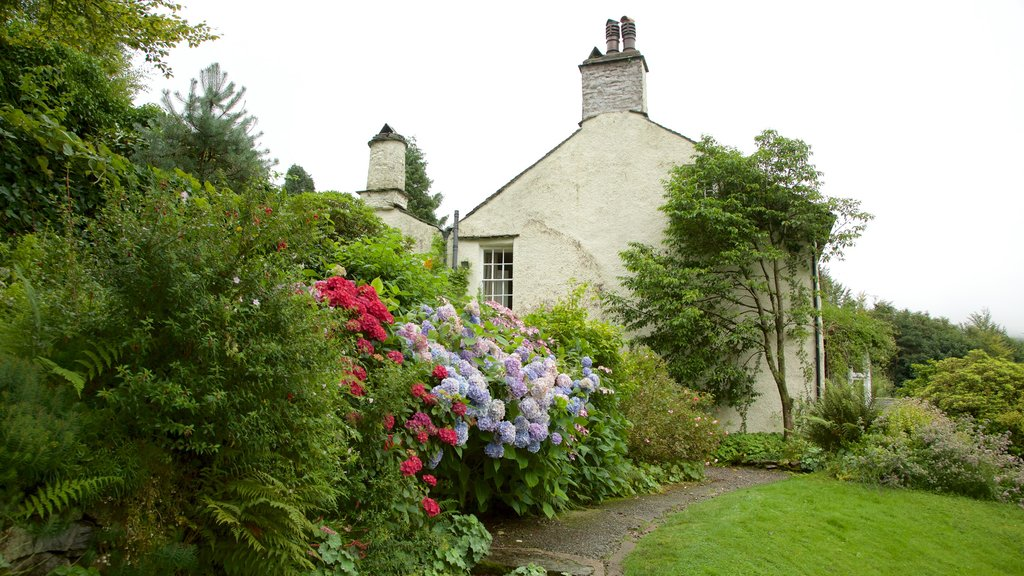 Rydal Mount which includes a garden, a house and flowers
