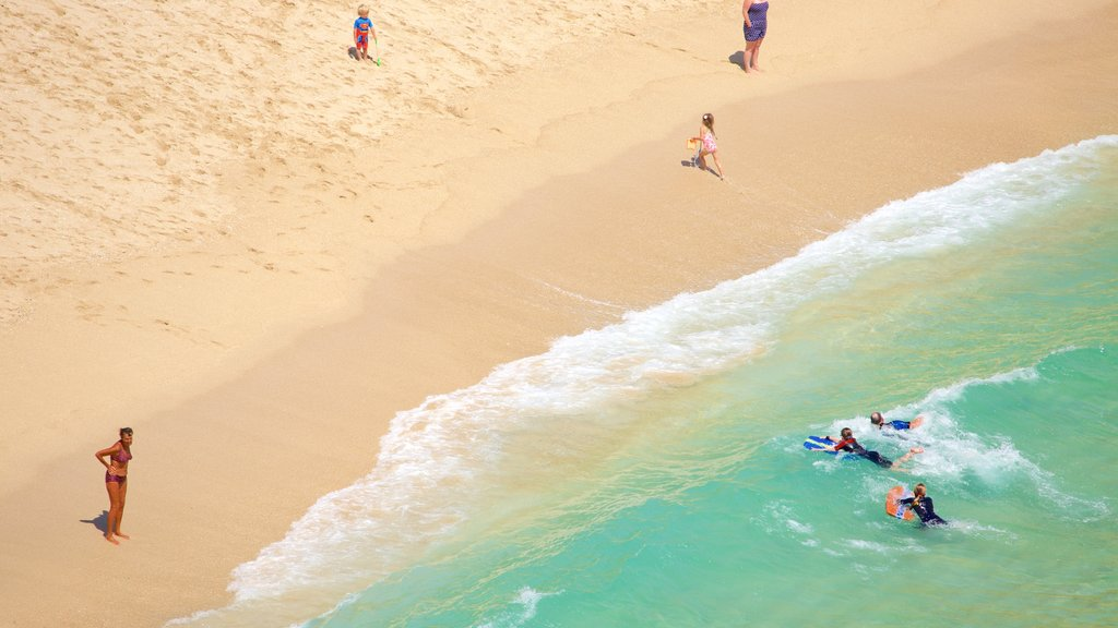 Porthcurno Beach showing swimming and a sandy beach as well as a small group of people
