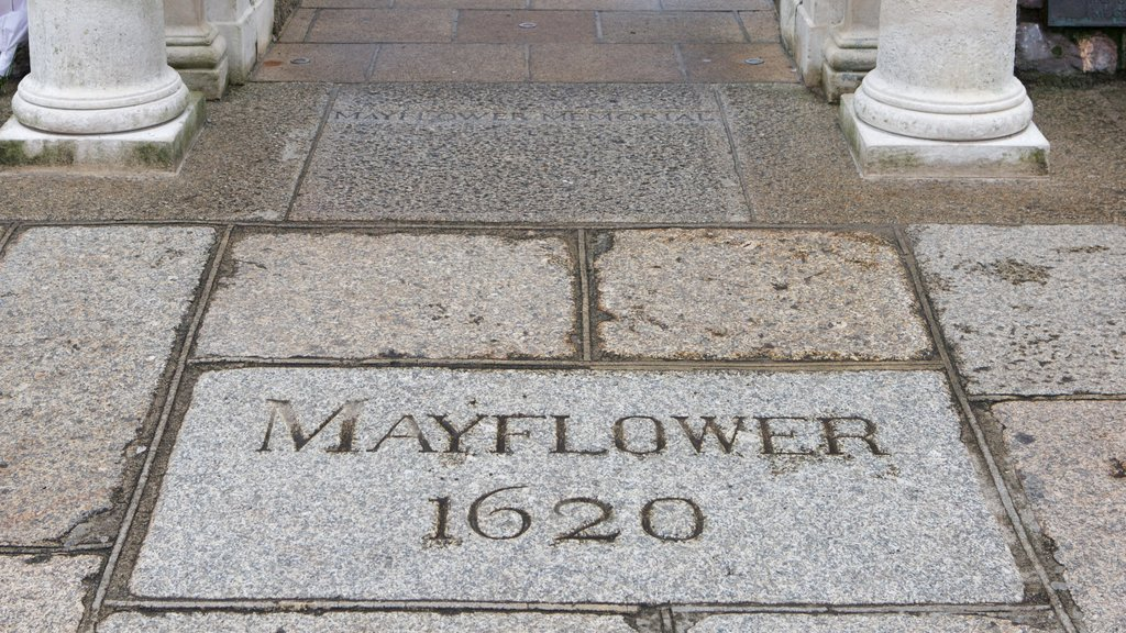 Mayflower Steps featuring signage