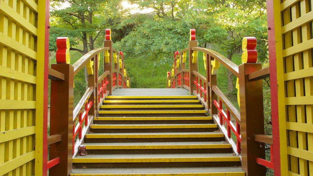Peasholm Park featuring a bridge and a garden