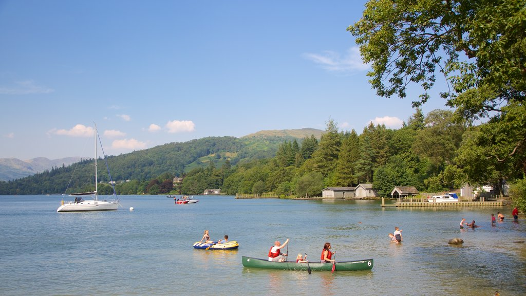 Lake District Visitor Centre at Brockhole showing a lake or waterhole, sailing and kayaking or canoeing