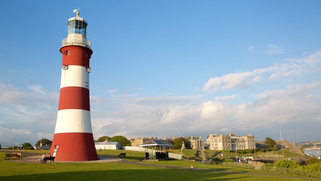 Smeatons Tower showing general coastal views, a coastal town and a lighthouse
