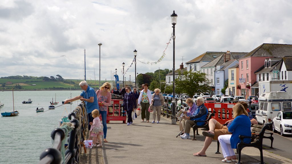 Devon showing a small town or village and boating as well as a large group of people