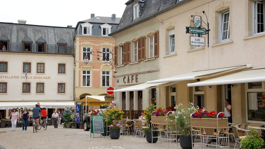 Echternach featuring a square or plaza and cafe lifestyle as well as a small group of people