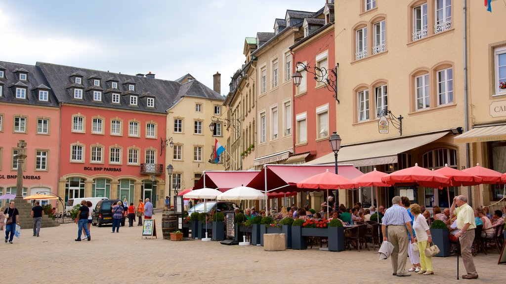 Echternach showing a square or plaza, heritage architecture and cafe lifestyle