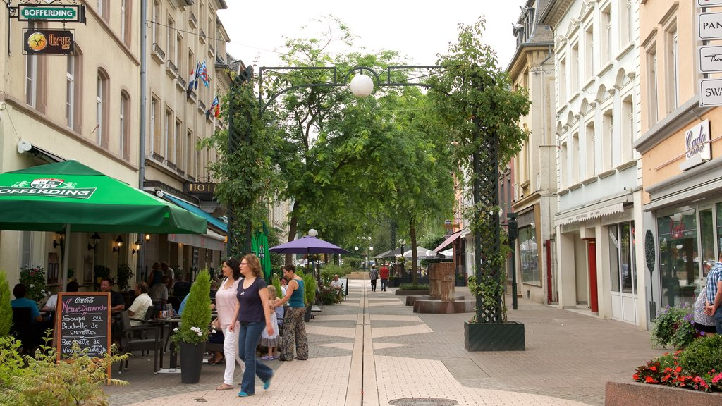Echternach featuring street scenes, cafe lifestyle and heritage architecture
