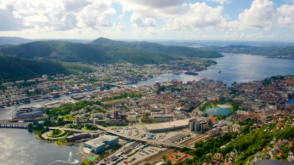 Bergen featuring a lake or waterhole, a city and landscape views