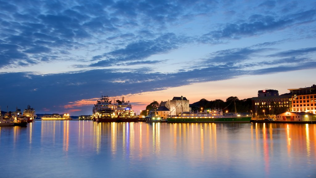 Bergen which includes night scenes, general coastal views and boating